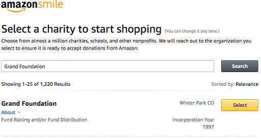 Select 'Grand Foundation' as your charity when shopping on Amazon.